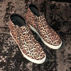 Leopard Zip Platform Sneakers